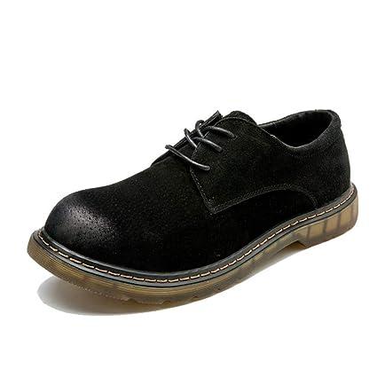 Sunny&Baby Botines de Moda para Hombre Zapatos de Trabajo con Punta Redonda de Cuero OX con