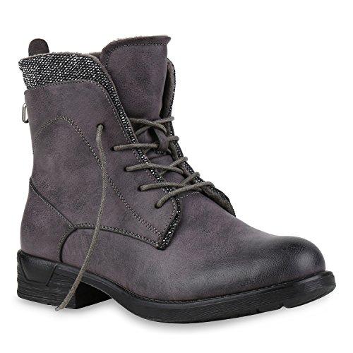 Stiefelparadies Damen Schnürstiefeletten Leder-Optik Stiefeletten Blockabsatz Boots Glitzer Schuhe Schnürschuhe Übergrößen Flandell Grau Glitzer