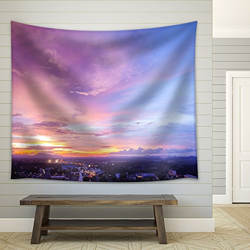 Beautiful Cityscape Sunset at Trang Thailand Fabric Wall Tapestry