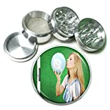 Argentina Pin Up Girls South America S9 Chrome Silver 2.5'' Aluminum Magnetic Metal Herb Grinder 4 Piece Hand Muller Herb & Spice Heavy Duty 63mm