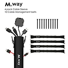 Cable Management Sleeve & Cable Ties, , M.Way 4 pack 19.5 Inch Expandable Wires Cords Organizers Cover 7 Rows of Holes Both Sides with Zipper, 10 Cable Ties Connector For Desk, PC, TV, Home, Office