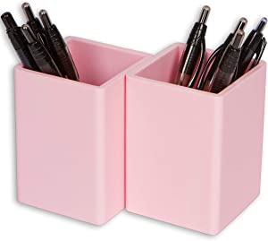 Fernaco Pen and Pencil Holders for Desk (Set of 2), Millennial Pink, Office Desk Organizers, Long-Lasting, Silicone Cups