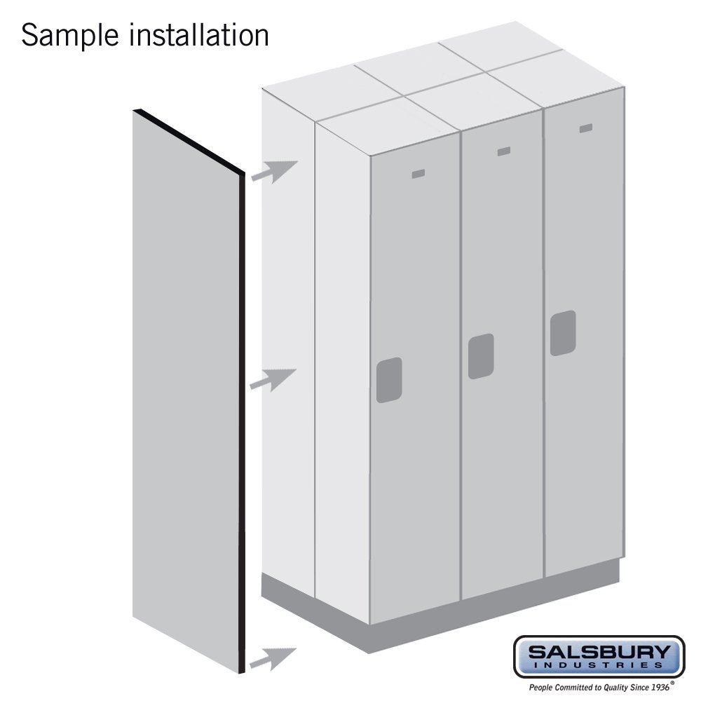 Salsbury Industries 22245GRY Double End Side Panel for 21-Inch Deep Extra Wide Designer Wood Locker without Sloping Hood, Gray