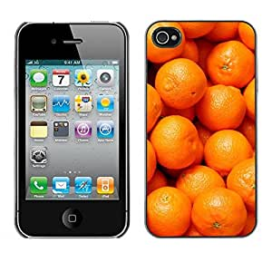 FECELL CITY // Duro Aluminio Pegatina PC Caso decorativo Funda Carcasa de Protección para Apple Iphone 4 / 4S // Orange Macro Fruit Tropical