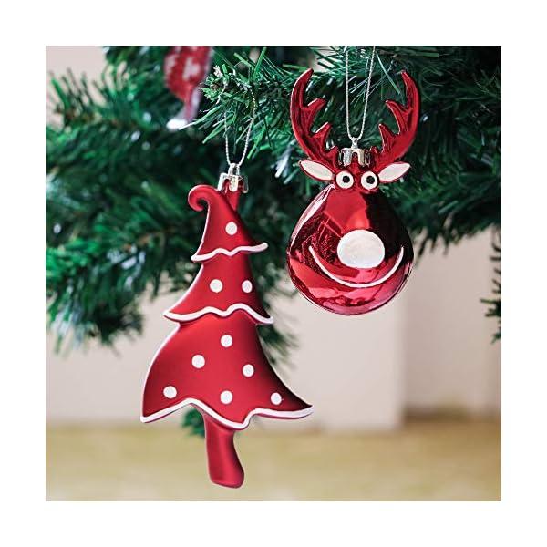Victor's Workshop Addobbi Natalizi 92 Pezzi di Palline di Natale, 3-15 cm Tradizionali Ornamenti di Palle di Natale Infrangibili Rossi e Bianchi per la Decorazione Dell'Albero di Natale 5 spesavip
