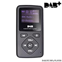 Hi-azul Radio Digitale DAB/DAB+ Portatile Radio FM Compatta con Bluetooth e Lettore MP3, Supporta la Scheda SD, Batteria Ricaricabile Incorporata, Cuffia Inclusa