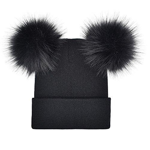 LEXUPA Women Winter Warm Crochet Knit Double Faux Fur Pom Pom Beanie Hat Cap(One -