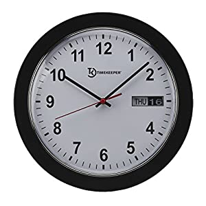 Timekeeper Meridian Office Wall Clock With White Face/Black Hands/Red  Second, 12 Inch, White/Chrome