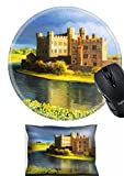 MSD Mouse Wrist Rest and Round Mousepad Set, 2pc Wrist Support design 15339528 Famous Castle near Leeds in Kent painted on the canvas by me Kiril Stanchev