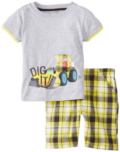Set Yellow Pocket Watch (Watch Me Grow! by Sesame Street Baby Boys' 2 Piece Dig It Short Set, Yellow, 18 Months)