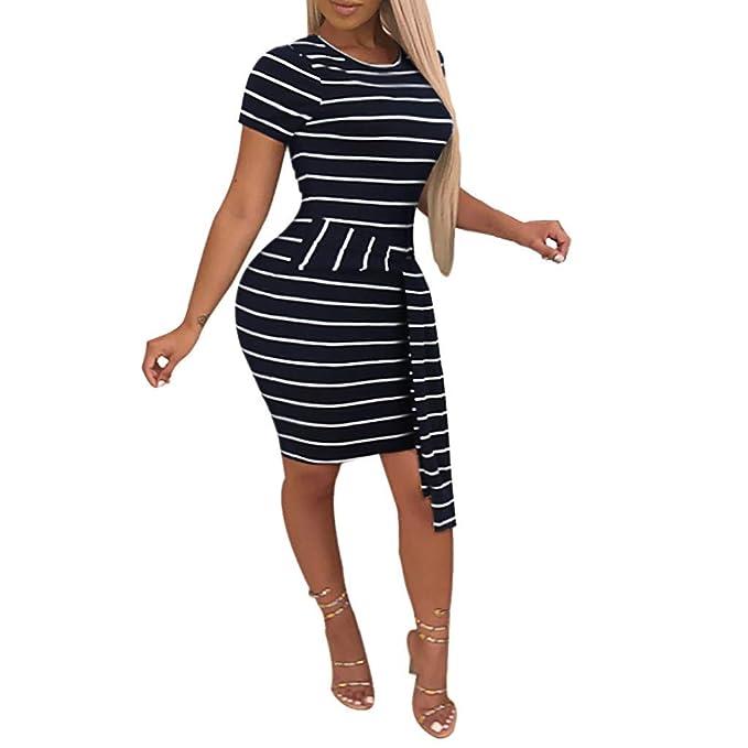 c8e3593e3d5f8c Tendenza per Il Tempo Libero Moda Donna Manica Corta Stampa A Righe Cintura  Aderente O-Collo Vestito Sconto Primavera Estate 2019: Amazon.it:  Abbigliamento