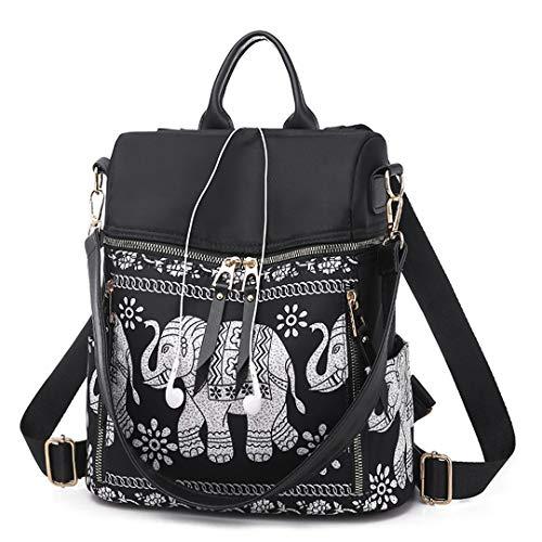 Women Backpack Animal Print Lady Shoulder Bag Travel School Bag For Teenager Girl Sac A Dos Black-Oxford 27cm 12cm 31cm