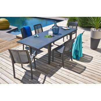 salon de jardin 6 couverts grosfillex alpha 150 gris anthracite ...