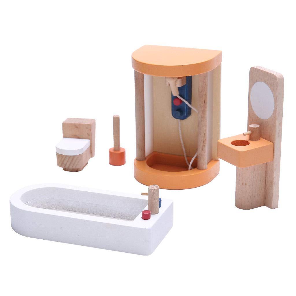 Dollhouse wooden bathroom furniture set
