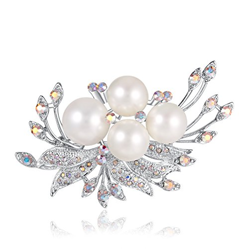 Swarovski Element Pearl Brooches & Pins Elegant Coral Pearls with Swarovski Crystals, Fashion Gifts for Women, Mothers Day Jewelry Gifts