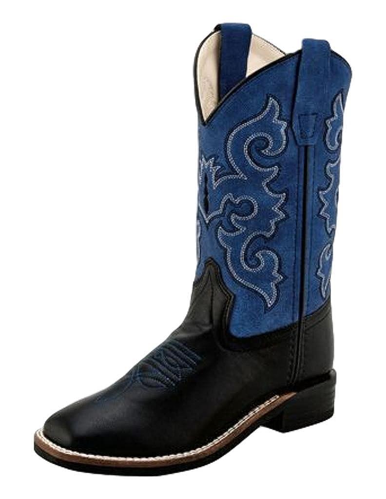 350884a7e8c Old West Children's Leatherette Broad Square Toe Cowboy Boots - Black Blue
