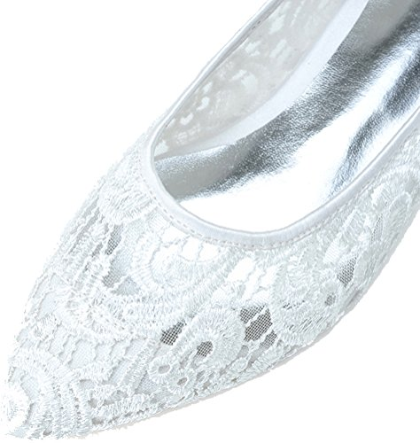 Comfort 2046 Ladies Toe White 12 Flats Work Bride Wedding Prom Peep 41 EU Pumps Lace Party Bridesmaid Dress Comfort 55vrn16q