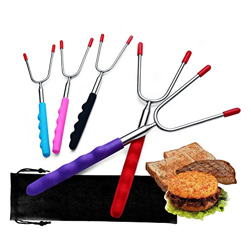 Marshmallow Roasting Sticks, Phroboxl 5pcs Colorful Stainless Steel Campfire Smores Sticks Skewer, 34