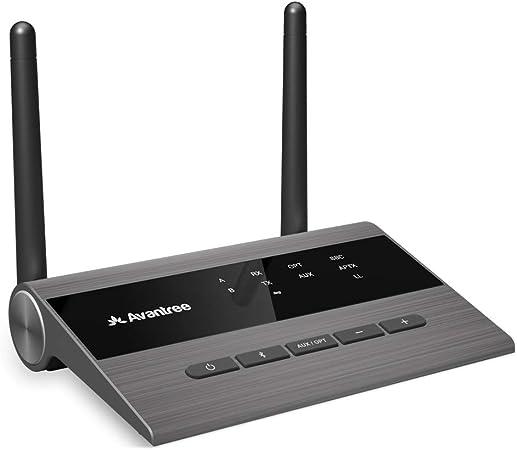 Avantree TC419 Receptor Transmisor Bluetooth 5.0 de Largo Alcance para Audio TV y PC, Altavoces Estéreo para el Hogar, Adaptador Inalámbrico aptX de ...