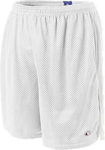 Champion Long Mesh Men's Shorts with Pockets (Large, White)