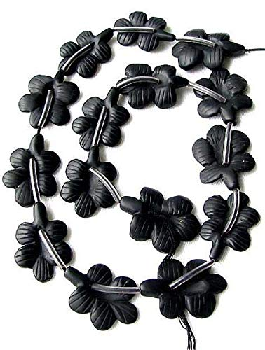 1 Carved Matte Onyx Butterfly Flower Focal Bead for Jewelry Making 008929 ()