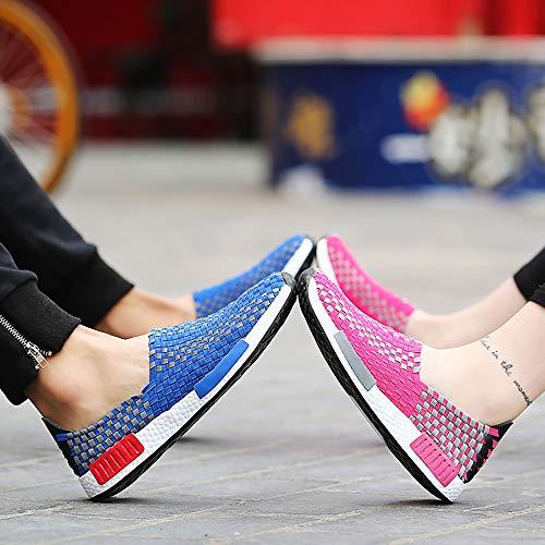 Pink Schuhe Paar Für Schiebe Bequeme Lässige und Gestrickte Männer Hand Atmungsaktive Fußschuhe 43 W Wasserschuhe Blue Elastische Frauen amp;TT Modelle Sport Setzen gw51n04q