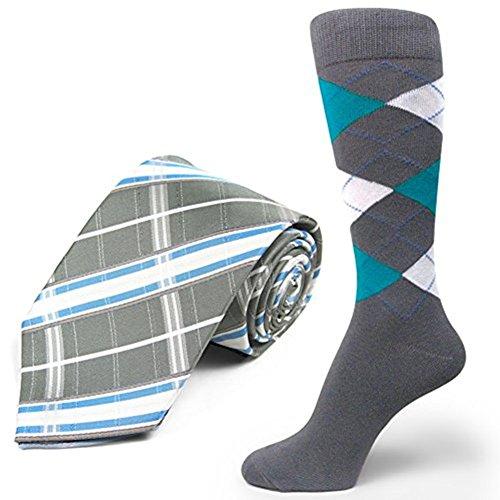 Spotlight Hosiery brand Men's Dress Socks &Necktie Set Charcoal Grey/Turquoise/White