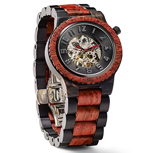 JORD Wooden Watches for Men - Dover Series Skeleton Automatic/Wood Watch Band/Wood Bezel/Self Winding Movement - Includes Wood Watch Box (Ebony & Rosewood)