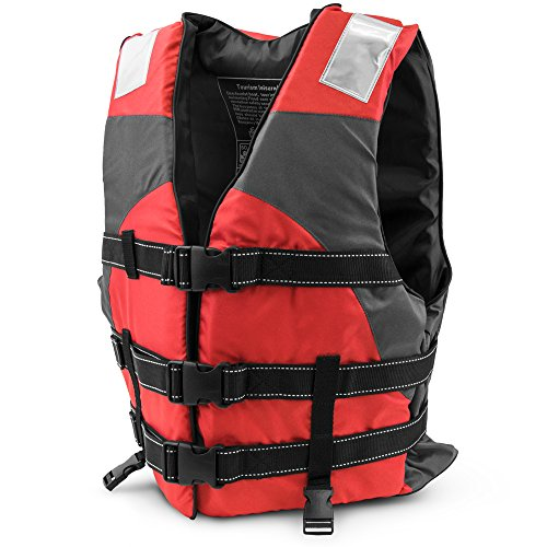 Life Preserver Vest - Multi-Sport Personal Flotation Device Life Vest with Hi-Visibility Reflective Panels and Threading by Crown Sporting Goods (Red)