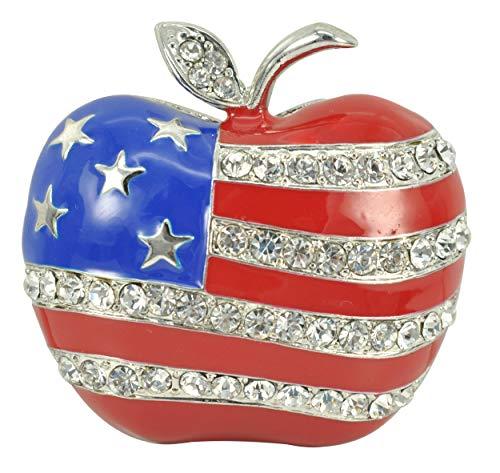 Gyn&Joy Clear Rhinestone Stripes Enamel Big Apple Patriotic America USA Flag Brooch Pin BZ258