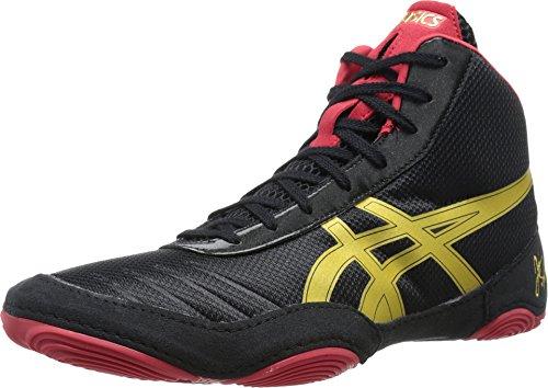 ASICS Men's JB Elite V2.0 Wrestling Shoe, Black/Olympic Gold/Red, 10.5 M US by ASICS