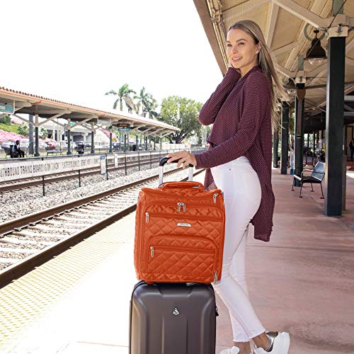 """16.5"""" Underseat Women Luggage Carry On Suitcase - Small Rolling Tote Bag with Wheels (Orange)"""