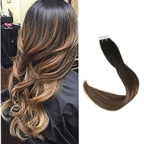 Full Shine 14 Gule in 100% Remy Human Hair Extensions Balayage Ombre Color #1b Off Black Fading to Color #6 Medium Brown and Color #24 Light Blonde 20 Pcs 50 Gram