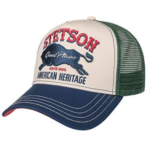 Stetson The Plains Trucker Cap Truckercap Basecap Baseballcap Curved Brim Meshcap Herren - Snapback, mit Schirm, Schirm Frühling-Sommer Herbst-Winter - One Size grün