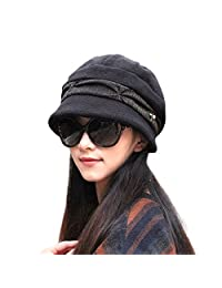 Knitted Cloche Hat Pleated Flapper Womens Ladies Winter Hat Short Brim Cap-Multicolor