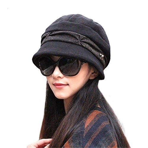 doublebulls hats Knitted Cloche Hat Pleated Flapper Womens Ladies Winter Hat Short Brim Cap, Black