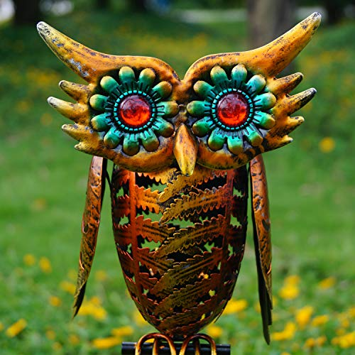 Ulmisfee Garden Solar Lights Outdoor Decor Solar Powered Owl Stake Lights Metal Decorative Garden Lights for Walkway, Pathway, Lawn and Yard