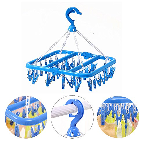 26 Clips Hanger Clothes Drying Sock Bra Underwear Undies Hanging Dryer Rack