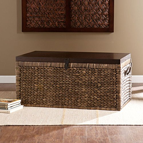 Harper Blvd Keene Blackwashed w/ Espresso Water Hyacinth Storage Trunk (Storage Media Apothecary)