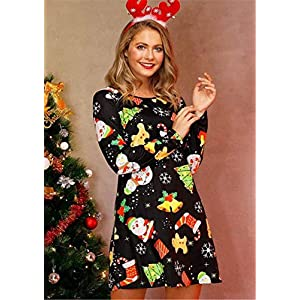 2020 Women's Long Sleeve Christmas Santa Claus Print Party Dress Casual A Line Flared Dress