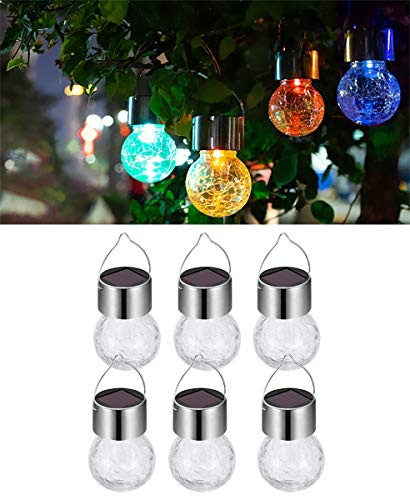 KIMI HOUSE 6 Pack Hanging Solar Powered Lamps with 7 Color Auto-Changing, Waterproof Cracked Glass Ball Lights, Best for Christmas Decoration and Gifts (Solar Light Ornaments)