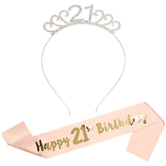 Feliz Cumpleaños 21th, 21th Plata Cristal Tiara Corona de ...