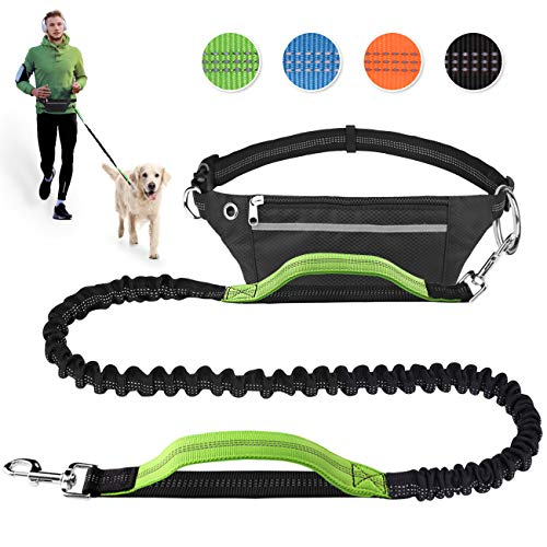 Hands Free Dog Leash for Running Walking Jogging Training Hiking, Retractable Bungee Dog Running Waist Leash for Medium to Large Dogs, Adjustable Waist Belt with Pack, Reflective Stitches, Dual Handle (Best Training For Hiking)