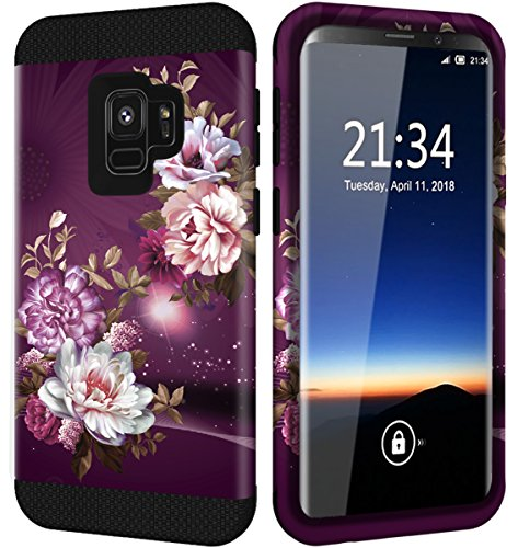 Galaxy S9 Case w/Unique Flower Pattern Design, Hocase Sturdy 3-Piece Heavy Duty Shockproof Protection Hard Armor Cover Rubbery Protective Case for Samsung Galaxy S9 2018 - Royal Purple