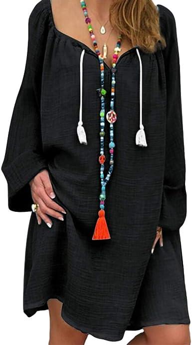 Vestidos de Mujer Manga Larga O-Cuello Vestido Casual Cómodo Transpirable Vestido de Lino de Algodón Suelto Talla Grande Vestido de Camiseta: Amazon.es: Ropa y accesorios