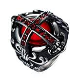 Crusader Templar Cross Christian Christianity Rings Ruby cubic-zirconia 316L Stainless Steel Ring