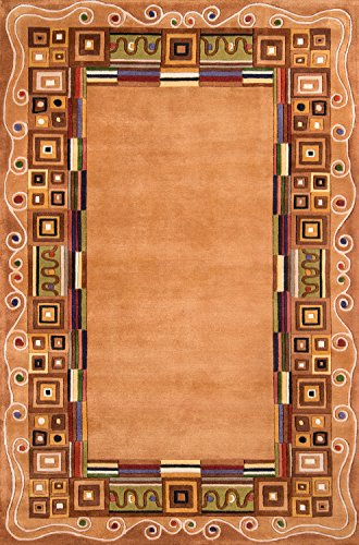 Runner Rug Wave Collection New - Momeni Rugs NEWWANW-34GLD2030 New Wave Collection, 100% Wool Hand Carved & Tufted Contemporary Area Rug, 2' x 3', Gold