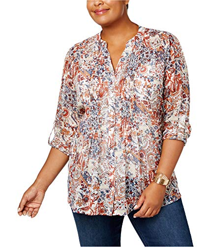 (Style & Co. Womens Plus Pleated Floral Print Blouse Beige 0X)