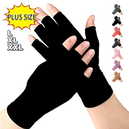 Arthritis gloves Large XL relieve pain from Rheumatoid, RSI,Carpal Tunnel, Compression Gloves Fingerless for Computer Typing and Dailywork, Support for Hands And Joints by DISUPPO (PureBlack, X-Large)