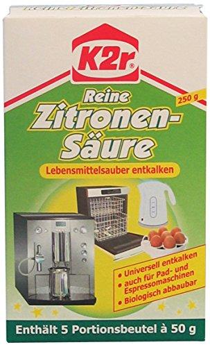 K2r Reine Zitronen-Säure Pulver 5 Portionspackungen, 6er Pack (6 x 250 g)